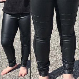 Black Leather Front Moto Leggings! NEW!